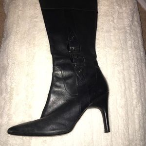 Via spiga black heeled boots